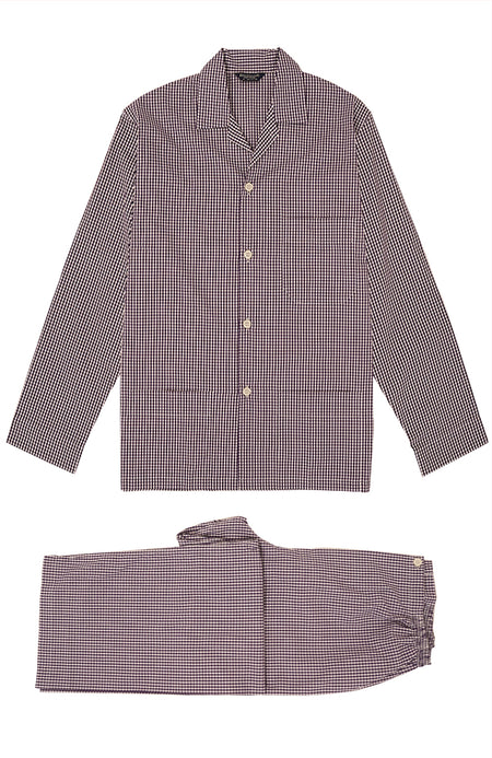 Classic Plum Check Pyjamas | Bonsoir of London