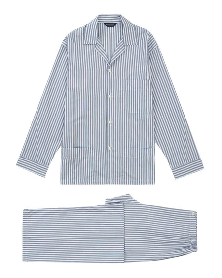Men's Cotton Twill Striped Pyjamas | Bonsoir of London