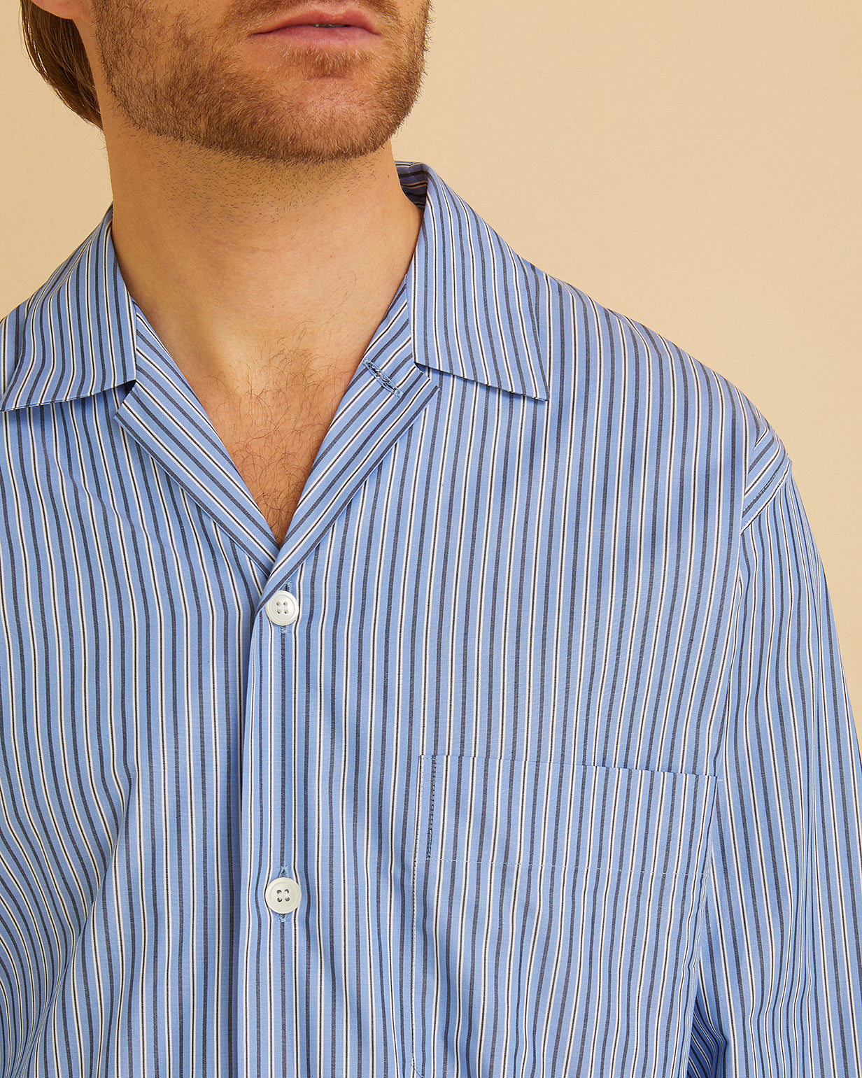 Men's Classic Cotton Pyjama Blue Stripe | Bonsoir of London