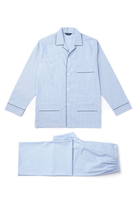 Men's Sky Gingham Classic Pyjamas | Bonsoir of London