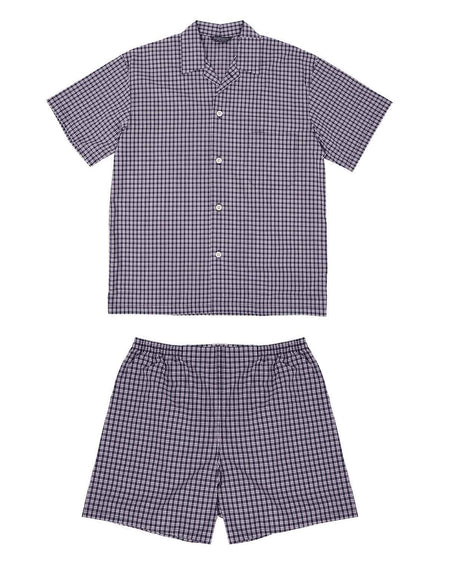 Classic Navy Plum Check Short Pyjamas | Bonsoir of London