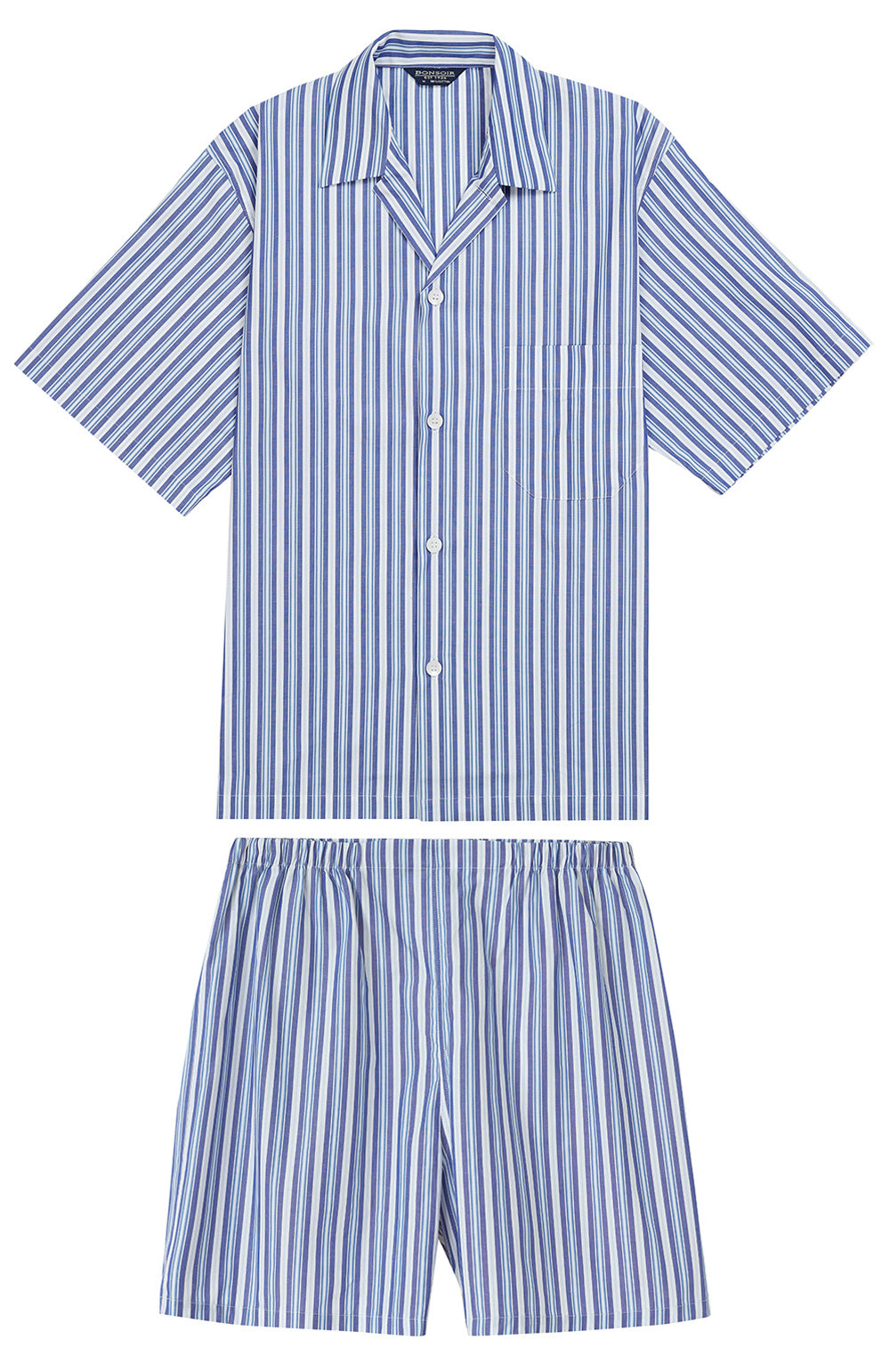 Classic Cotton Tonal Blue Short Pyjamas | Bonsoir of London