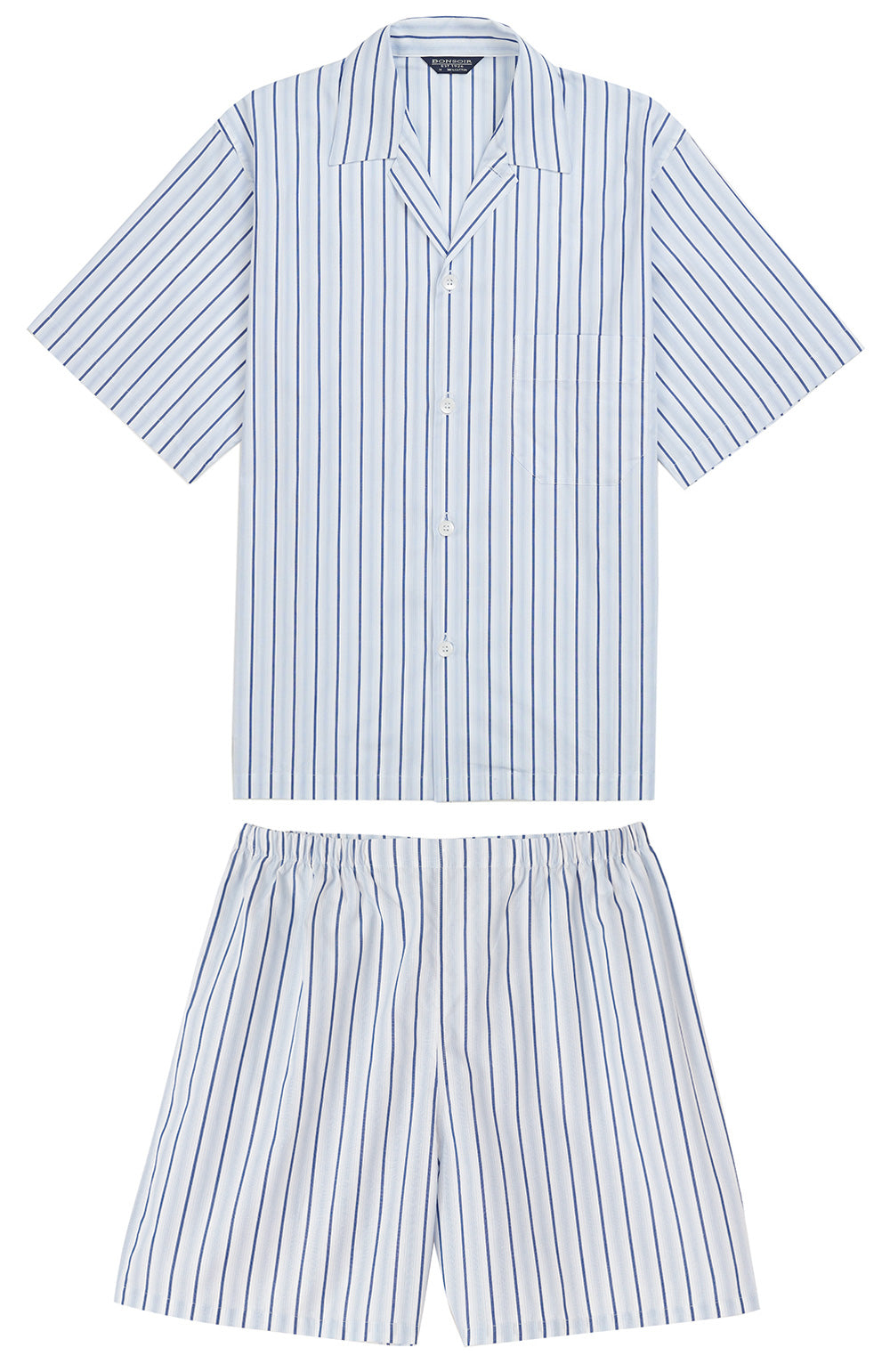 Classic Cotton Blue White Stripe Short Pyjamas | Bonsoir of London