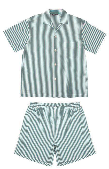 Classic Green Stripe Short Pyjamas | Bonsoir of London