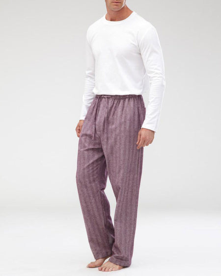 Men's Brushed Cotton Pyjama Trousers - Aubergine