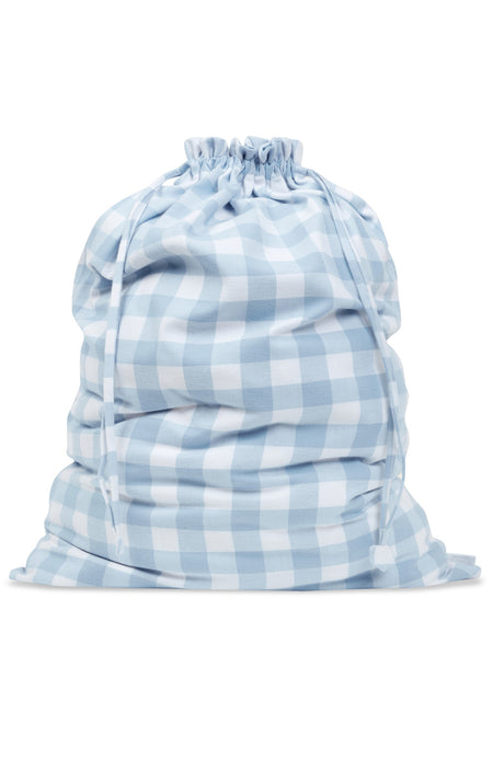Brushed Cotton Blue Check Laundry Bag | Bonsoir of London