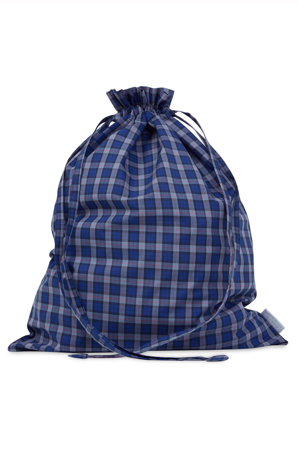 Cotton Navy Check Laundry Bag | Bonsoir of London