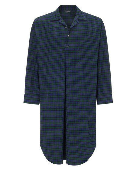 Brushed Cotton Nightshirt (jmnm) - Blackwatch | Bonsoir of London