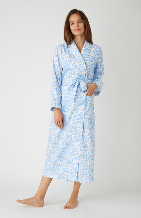 Women's Brushed Cotton Blue Floral Dressing Gown | Bonsoir of London