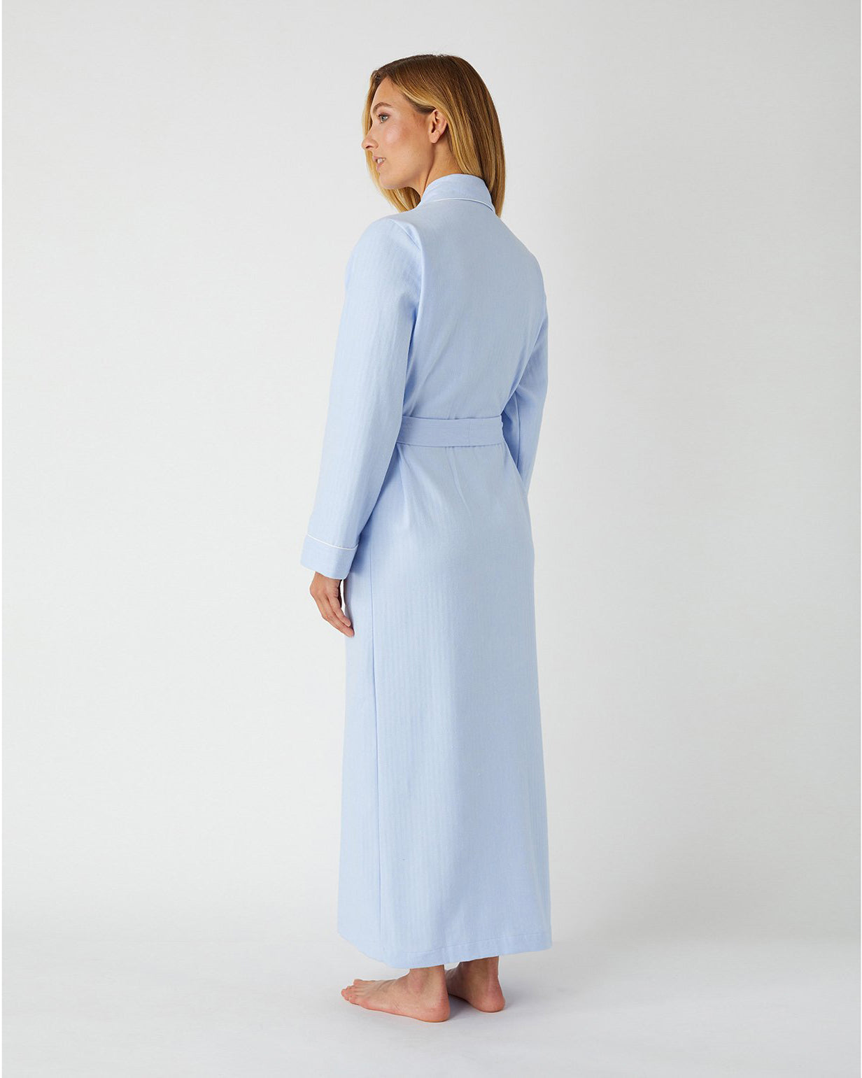 Brushed Cotton Blue Herringbone Gown | Bonsoir of London