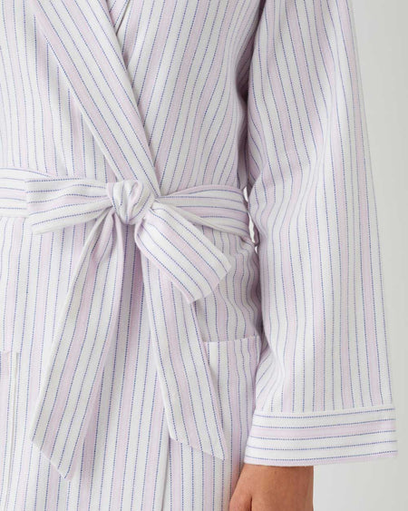 Women's Brushed Cotton Dressing Gown - Pink Blue Stripe
