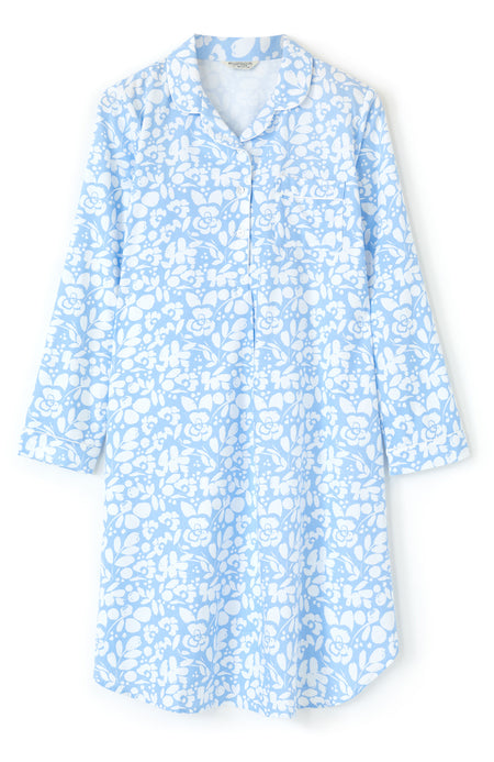 Brushed Cotton Blue Floral Nightshirt | Bonsoir of London