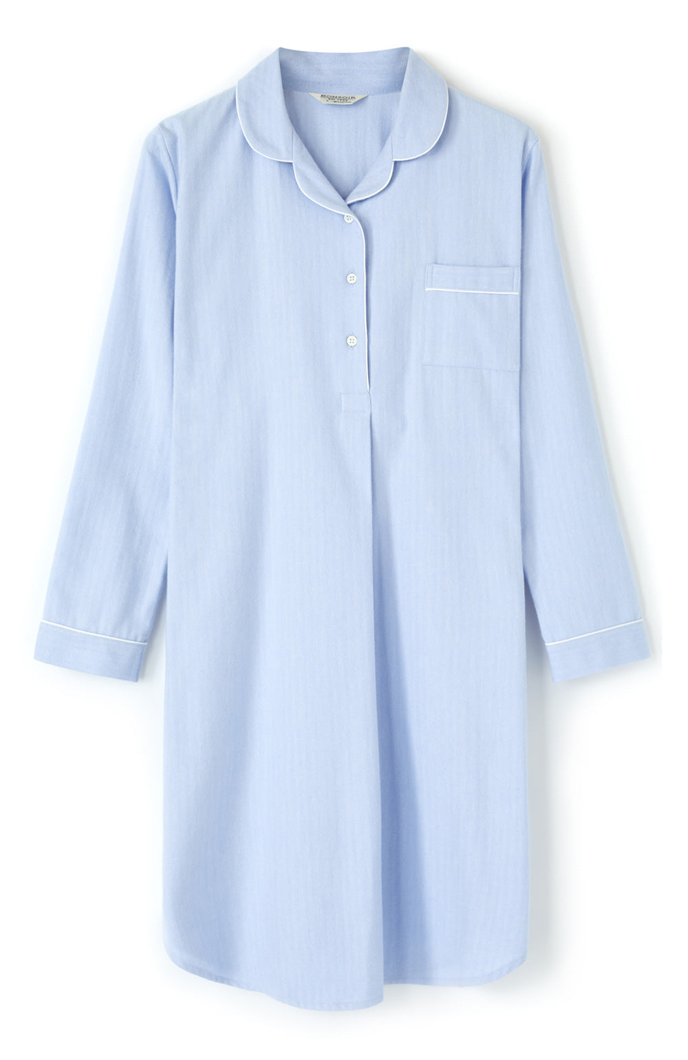Women's Brushed Cotton Blue Herringbone Nightshirt | Bonsoir of London