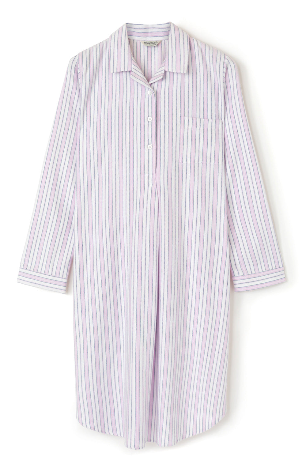 Brushed Cotton Pink Blue Stripe Nightshirt | Bonsoir of London
