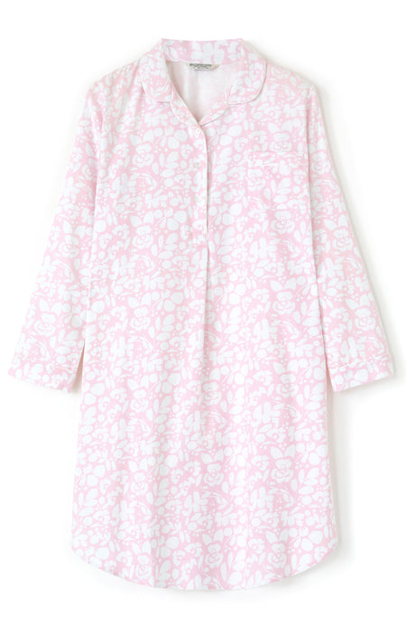 Brushed Cotton Pink Floral Nightshirt | Bonsoir of London