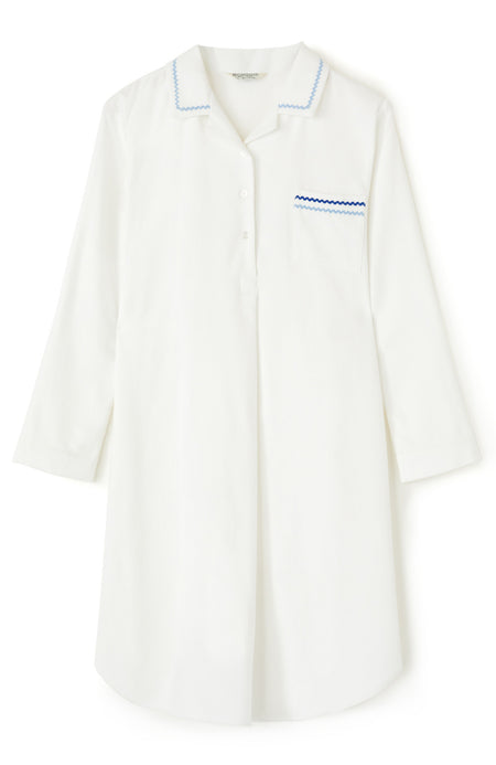 Brushed Cotton White Nightshirt | Bonsoir of London