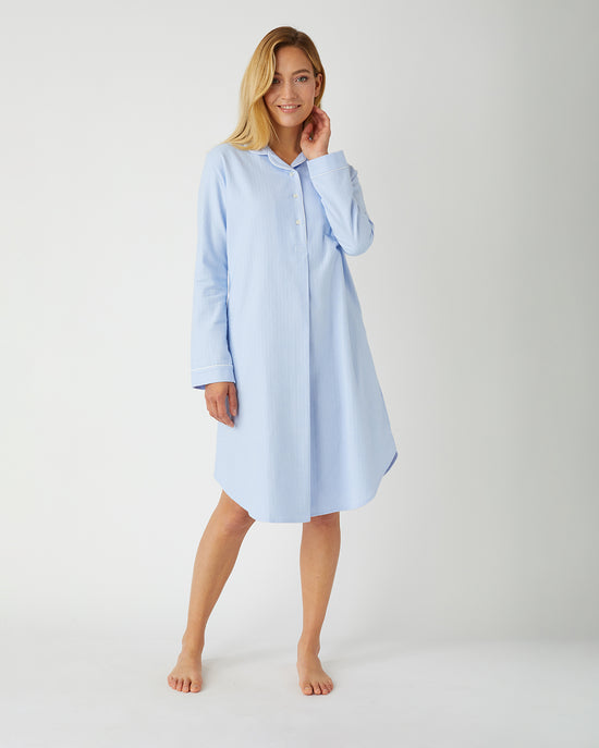 Women's Brushed Cotton Grandad Nightshirt (tllg) - Purbeck Plaid