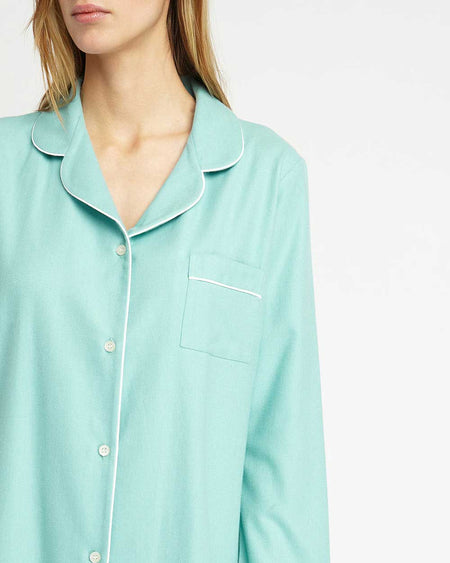 Brushed Pastel Nightshirt (blnf) - Aqua Herringbone | Bonsoir of London