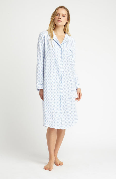 Brushed Pastel Nightshirt (blnf) - Lisbon Blue | Bonsoir of London
