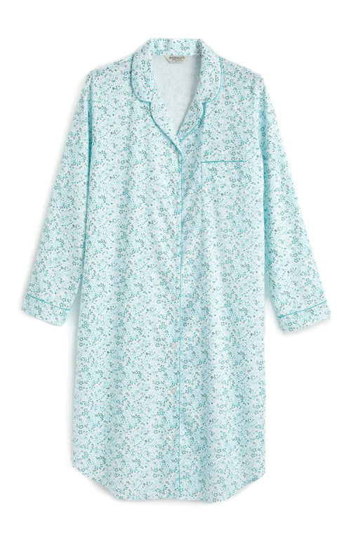 Brushed Pastel Nightshirt (blnf) - Aqua Floral | Bonsoir of London