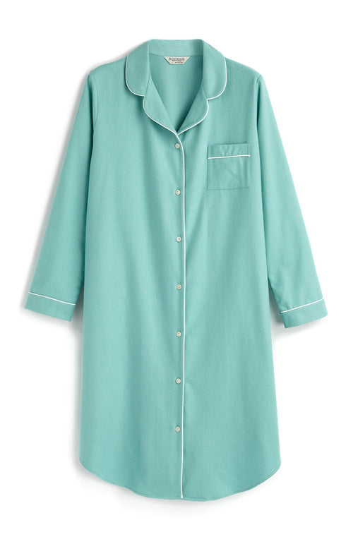 BRUSHED PASTEL NIGHTSHIRT - AQUA HERRINGBONE | Bonsoir of London