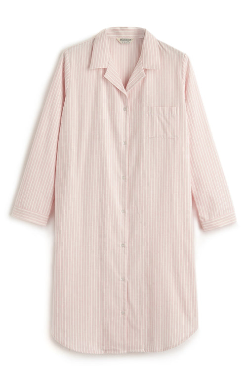 BRUSHED PASTEL NIGHTSHIRT - PINK STRIPE | Bonsoir of London