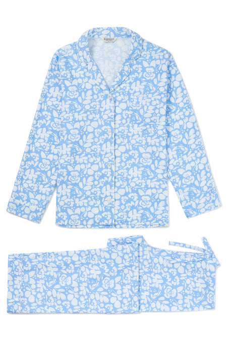 Brushed Cotton Blue Floral Pyjamas | Bonsoir of London