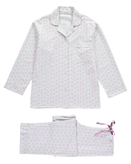 Brushed Pastel Pyjamas (blps)- Meadow Pink | Bonsoir of London