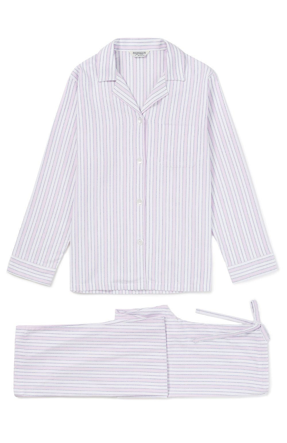 Brushed Cotton Pink Blue Stripe Pyjamas | Bonsoir of London