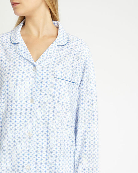 Women's Brushed Cotton Pyjamas - Lisbon Blue