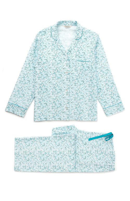 Brushed Pastel Pyjamas (blps) - Aqua Floral | Bonsoir of London