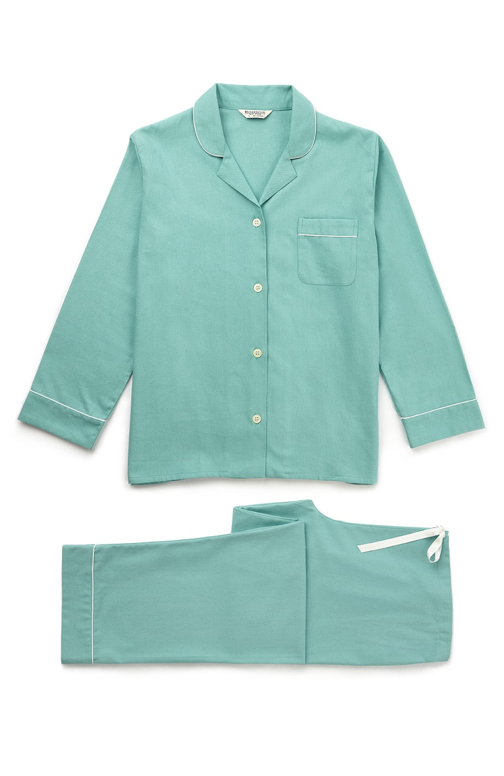 Brushed Pastel Pyjamas (blps) - Aqua | Bonsoir of London