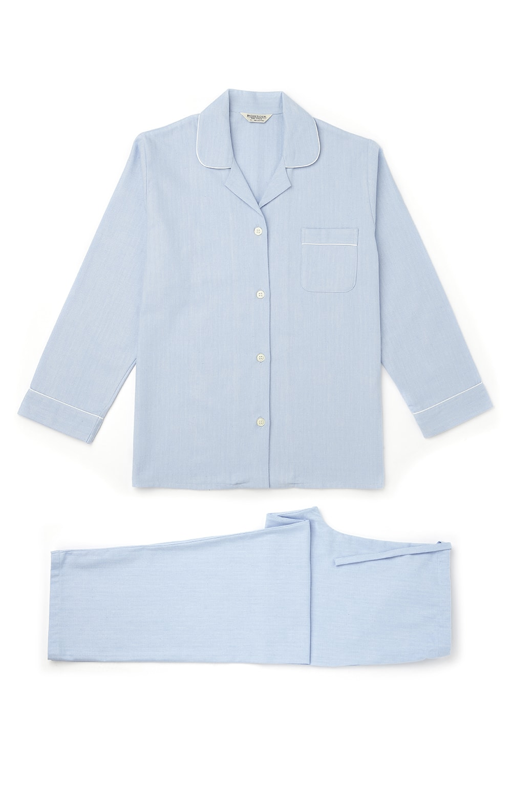 Women's Brushed Cotton Blue Herringbone Pyjamas | Bonsoir of London