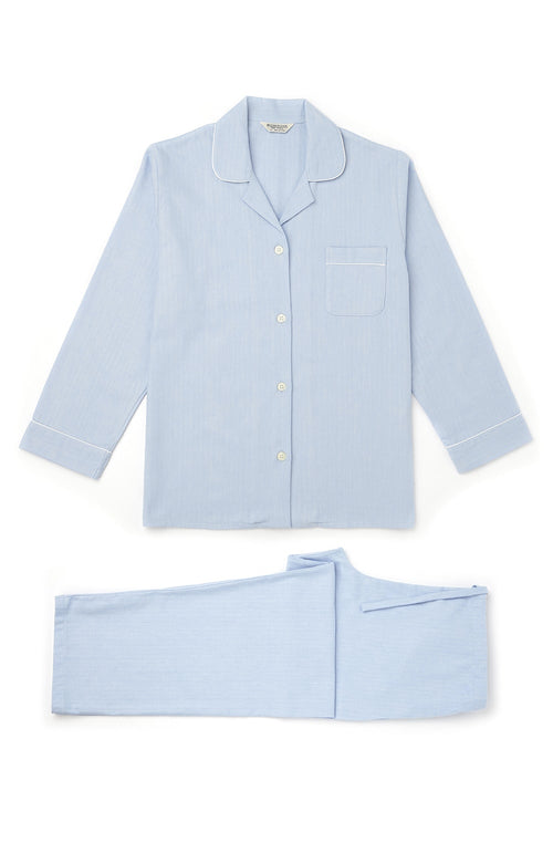Brushed Pastel Pyjamas (blps) - Blue Herringbone | Bonsoir of London