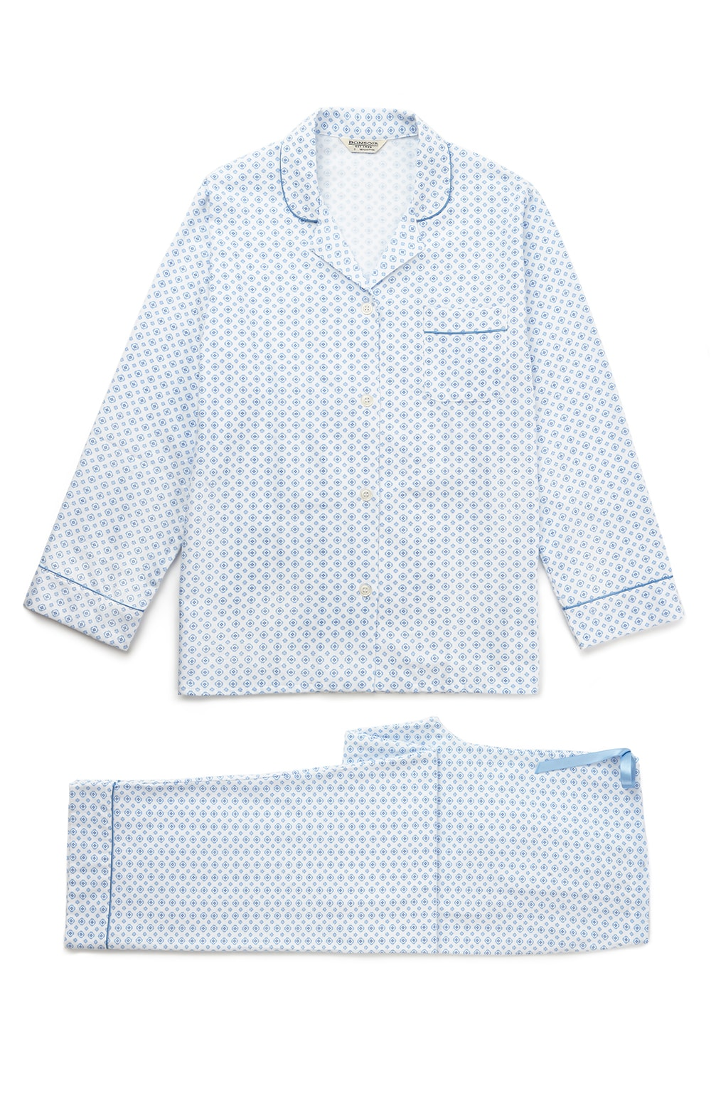Brushed Pastel Pyjamas (blps) - Lisbon Blue | Bonsoir of London