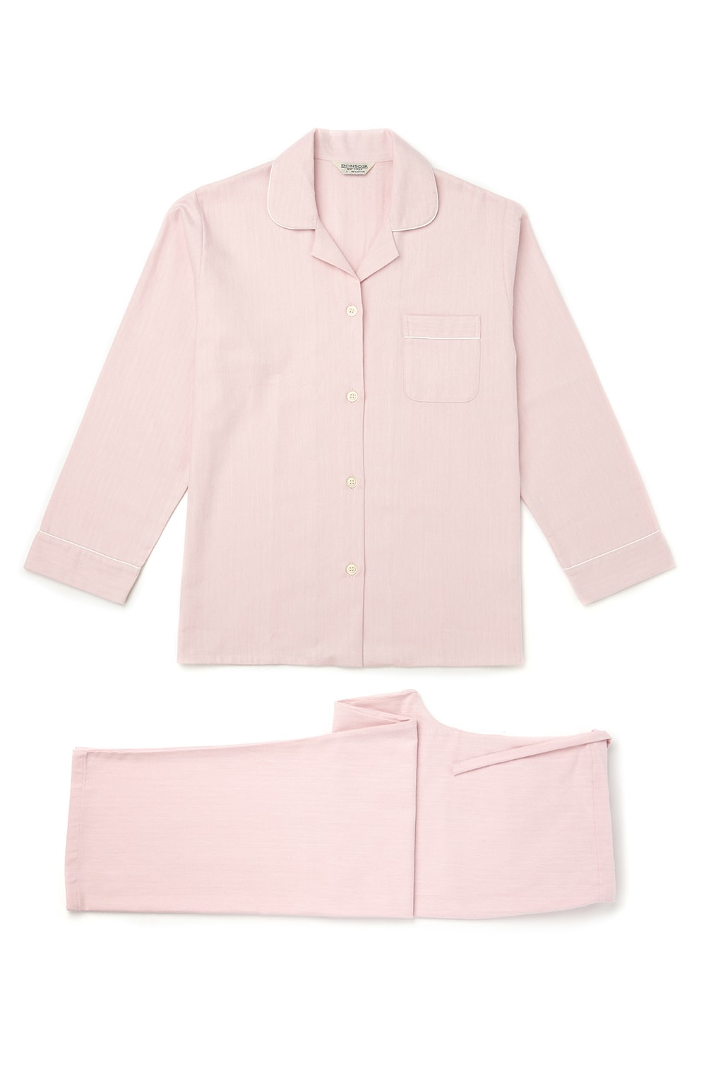 Brushed Pastel Pyjamas (blps) - Pink Herringbone | Bonsoir of London