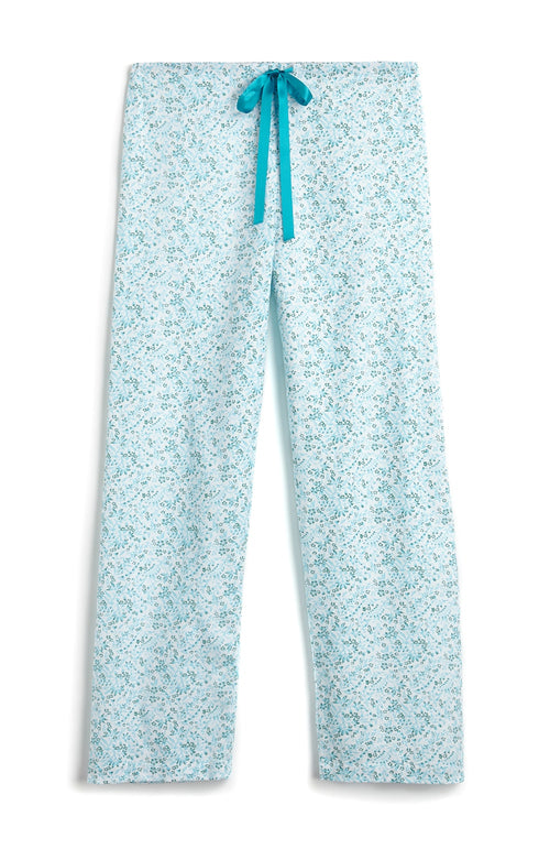 Brushed Pastel Pyjama Trousers (bltf) - Aqua Floral | Bonsoir of London