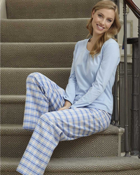 Women's Brushed Cotton Pyjama Trousers - Blue Plaid