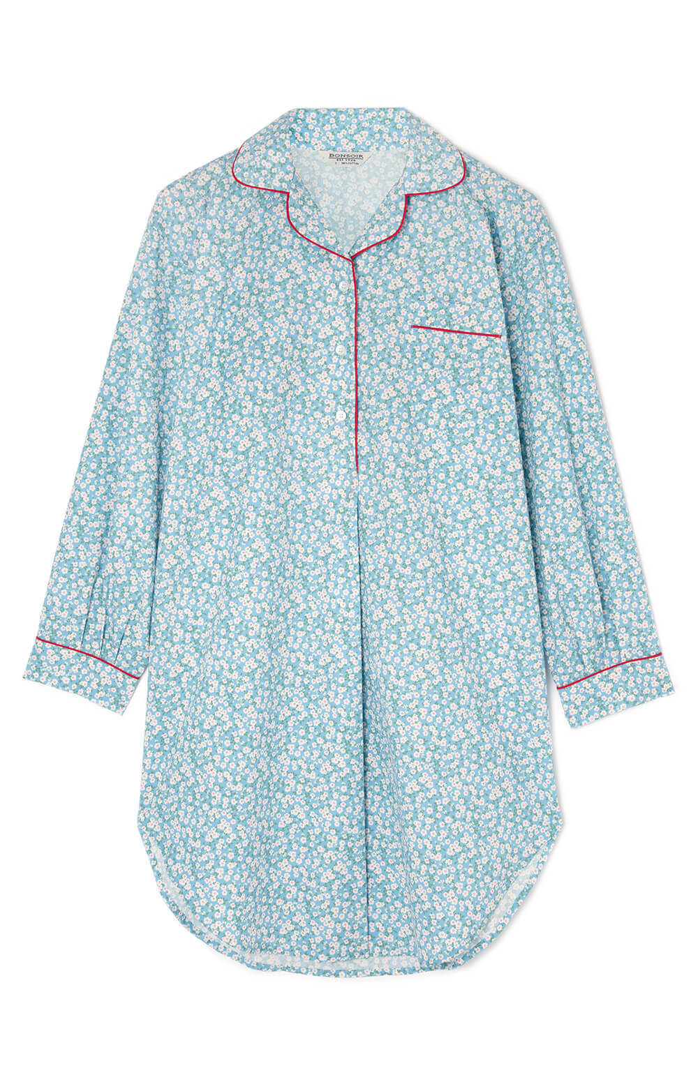 Maternity Long Sleeve Cotton Nightshirt - Blue Floral