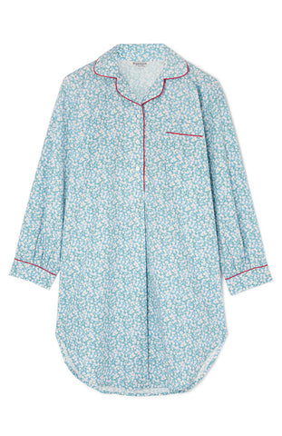 Maternity Short Sleeve Cotton Nightshirt (Mcss) - Blue Clouds