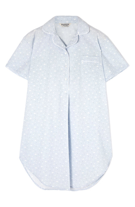 065dced535ff9 Maternity Short Sleeve Cotton Nightshirt (Mcss) - Blue Clouds