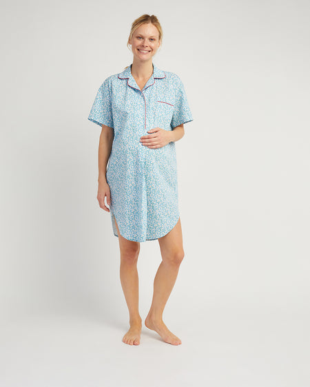 Women's Short Sleeved Maternity Nightshirt Blue Floral | Bonsoir of London