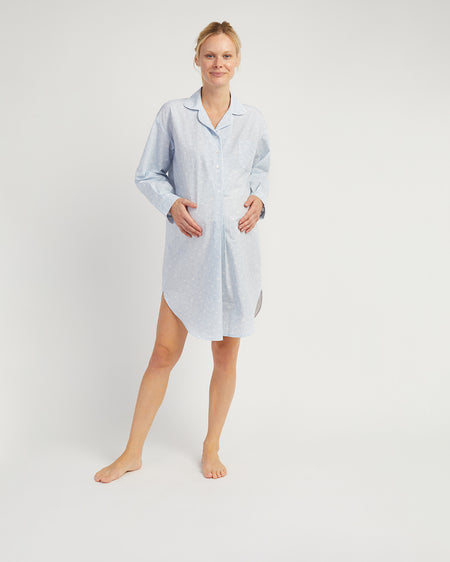 Women's Long Sleeve Maternity Nightshirt Blue | Bonsoir of London