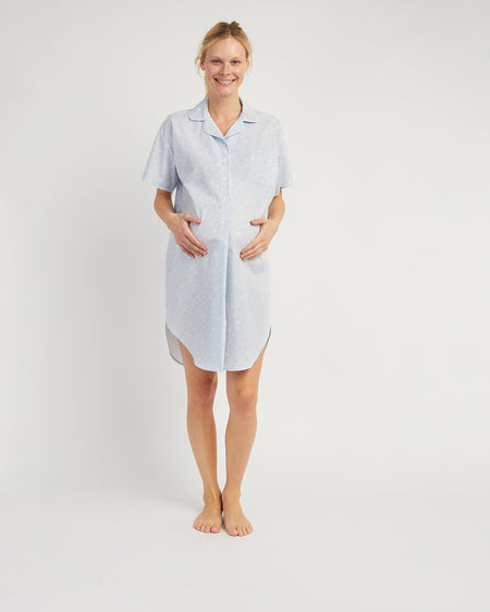 Women's Blue Short Sleeve Maternity Nightshirt | Bonsoir of London