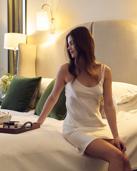 Women's Silk Short Nightdress - Ivory