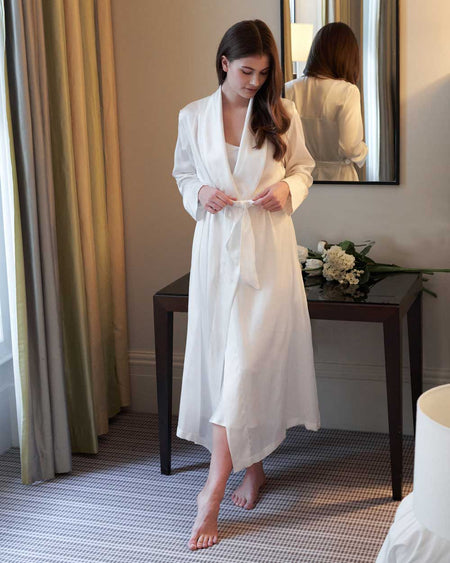 Women's Silk Dressing Gown - Ivory