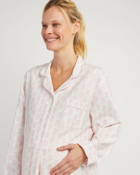 Maternity Brushed Cotton Nightshirt - Pink Paisley