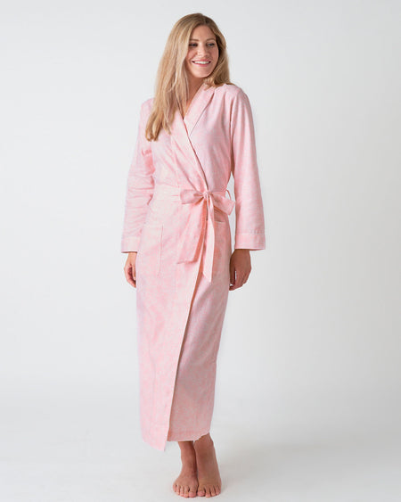 Women's Brushed Cotton Dressing Gown - Pink Bloom