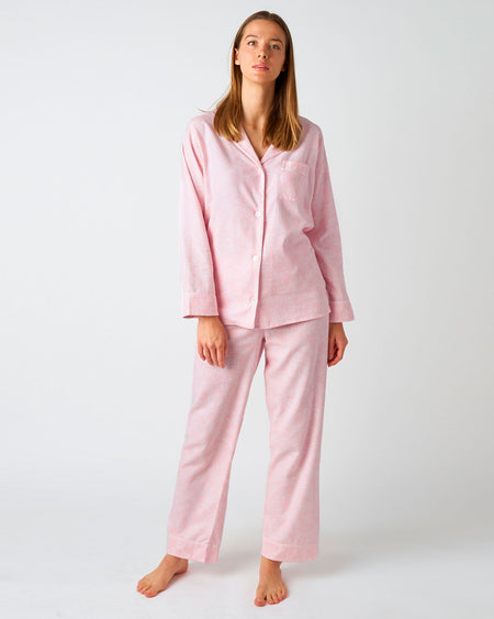 Women's Brushed Cotton Pyjamas - Pink Bloom