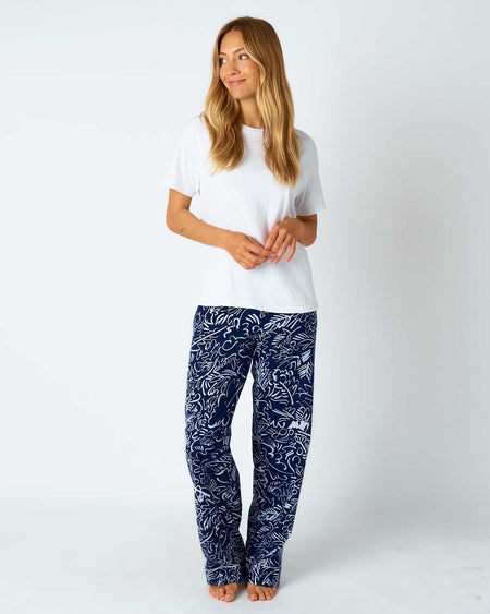 Women's Brushed Cotton Pyjama Trousers - Blue Abstract